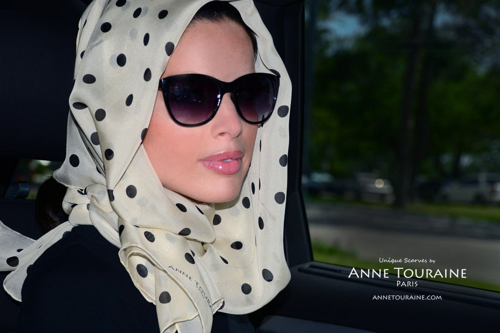 Chiffon silk scarves by ANNE TOURAINE Paris™: beige polka dot scarf as a loose headscarf