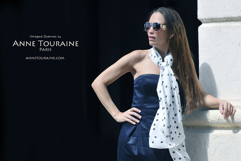 Chiffon silk scarves by ANNE TOURAINE Paris™: white polka dot scarf tied as a loose neck scarf