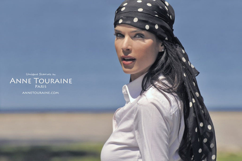 Chiffon silk scarves by ANNE TOURAINE Paris™: black polka dot scarf tied as a pirate headscarf