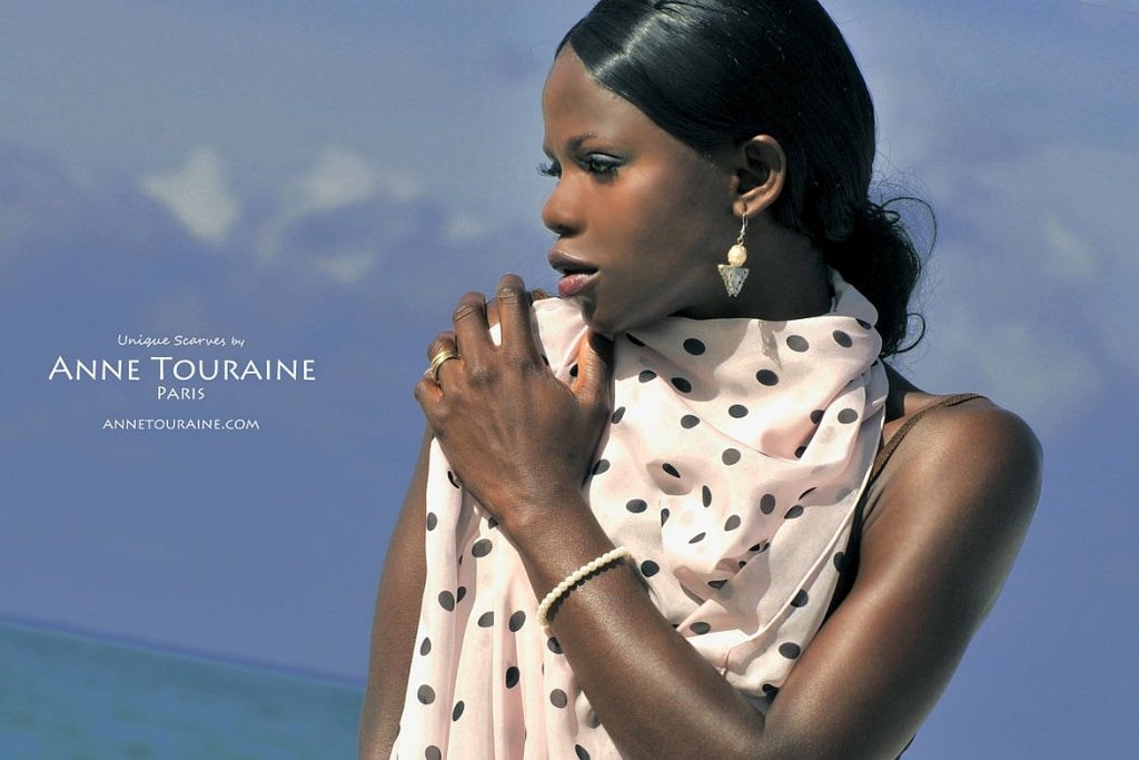 Chiffon silk scarves by ANNE TOURAINE Paris™: pink polka dot scarf draped to the front