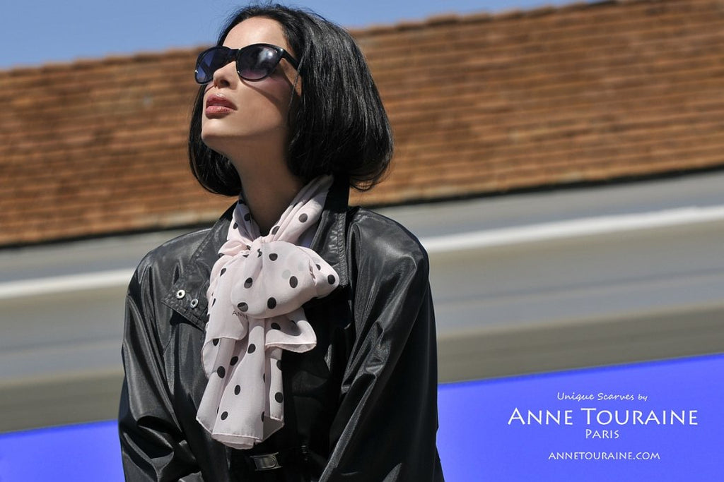 Chiffon silk scarves by ANNE TOURAINE Paris™: pink polka dot scarf tied with a front fluffy bow