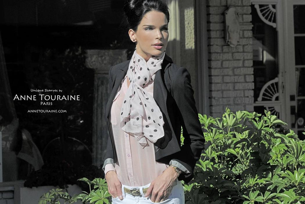 Chiffon silk scarves by ANNE TOURAINE Paris™: pink polka dot scarf European loop