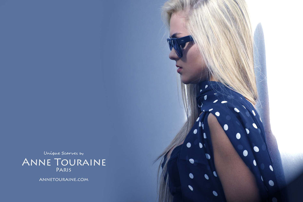 Chiffon silk scarves by ANNE TOURAINE Paris™: black polka dot scarf with one end to the front and the other end to the back