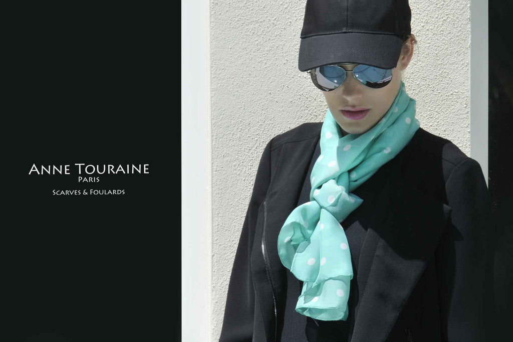 Chiffon silk scarves by ANNE TOURAINE Paris™: mint polka dot scarf tied European loop with a final knot under the loop