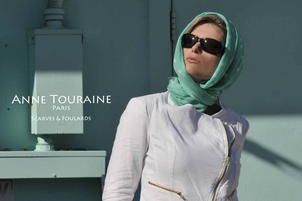 Chiffon silk scarves by ANNE TOURAINE Paris™: mint polka dot scarf as headscarf tied to the nape of the neck