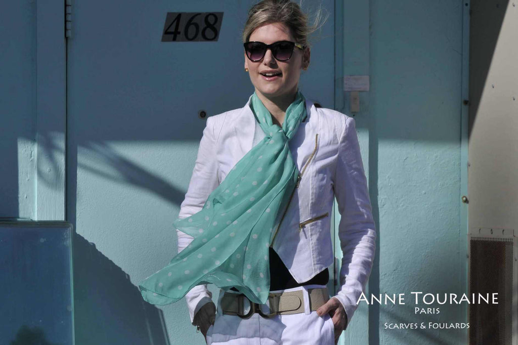 Chiffon silk scarves by ANNE TOURAINE Paris™: mint polka dot scarf tied to the front with one simple knot