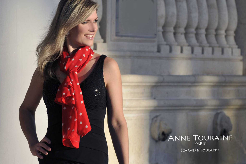 Chiffon silk scarves by ANNE TOURAINE Paris™: red polka dot scarf tied European loop way