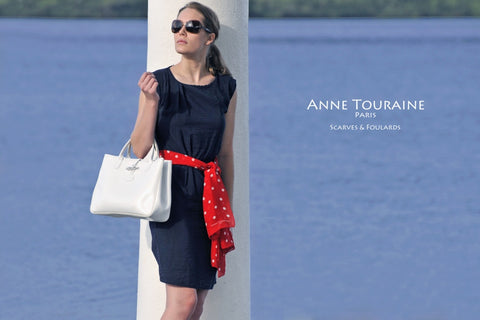 Red polka dot scarves: a chiffon silk scarf by ANNE TOURAINE Paris™. Delightfully versatile!