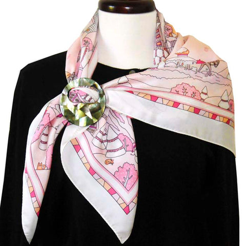 ANNE TOURAINE Paris™ French silk scarf, winter theme secured with a large and modern scarf ring