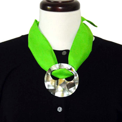 ANNE TOURAINE Paris™ green silk twilly with a large and modern scarf ring styled as a scarf pendant