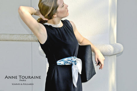 trendy-french-scarf-scarves-twill-silk-carres-soie-teal-blue-classic-square-belt-silky-anne-touraine-paris