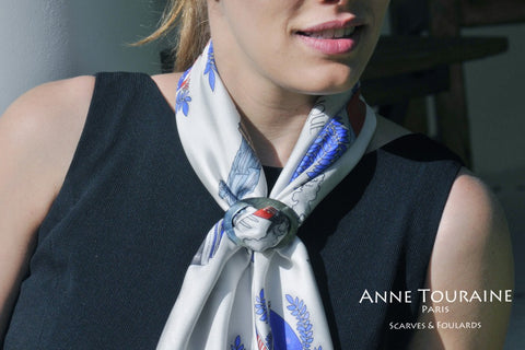 Large collection of scarf rings by ANNE TOURAINE Paris™. Available in mother of pearl, abalone, paua, wood, and horn. An elegant solution to keep your scarf in place.