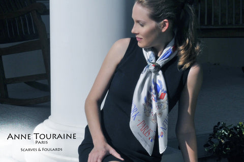 Precious mother of pearl scarf ring, black color, by ANNE TOURAINE Paris™. Available in other colors, in wood and in horn