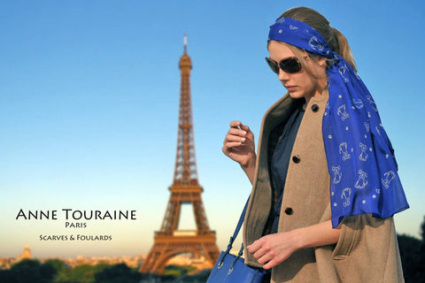 scarf-scarves-silk-anne-touraine-paris-blue-dog-pattern-chiffon-oblong-stole-zodiac-astrological-virgo