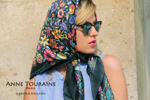 FLORAL grey silk scarf by ANNE TOURAINE Paris™. A chic way to keep up with the trend!