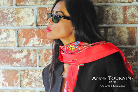 FLORAL red silk scarf by ANNE TOURAINE Paris™. A chic way to keep up with the trend!