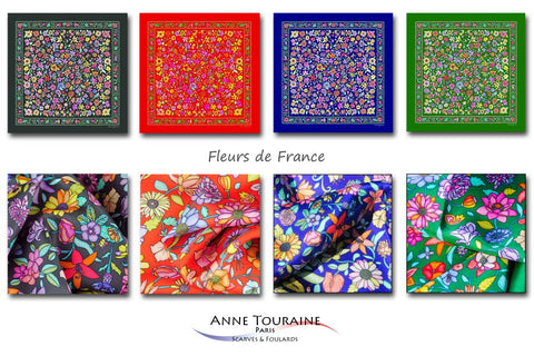 Keep up with the floral pattern trend with ANNE TOURAINE Paris™ FLORAL scarves available in four lovely colors: grey, red, blue and green