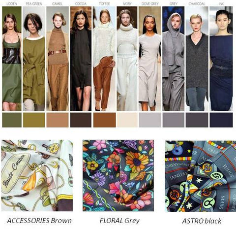 silk scarves by ANNE TOURAINE Paris™: trendy colors FW 2014 2015, brown grey black
