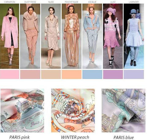 silk scarves by ANNE TOURAINE Paris™: trendy colors FW 2014 2015, icy pastels and baby colors