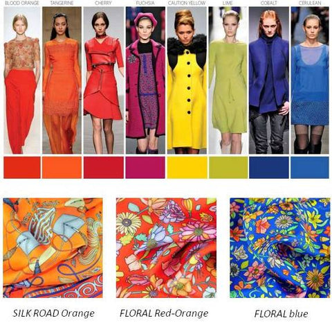 silk scarves by ANNE TOURAINE Paris™: trendy colors FW 2014 2015, orange red and blue cobalt