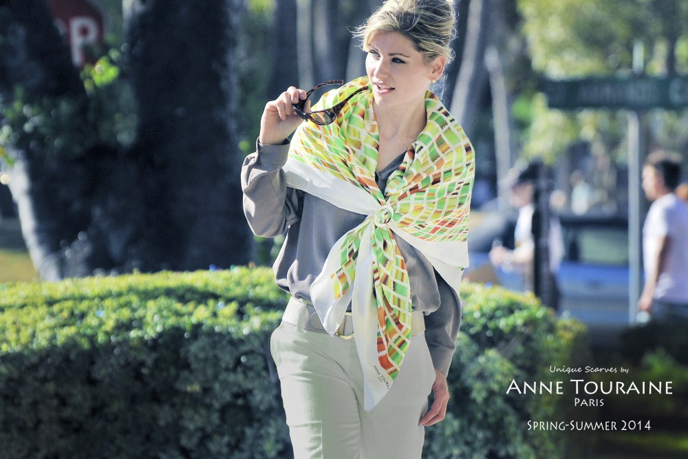 Extra large silk green and brown silk scarf by ANNE TOURAINE Paris™ with a white mother of pearl large scarf ring