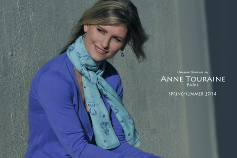 silk-scarf-scarves-anne-touraine-paris-dog-pattern-oblong-chiffon-blue-turquoise-zodiac-astrological-aquarius