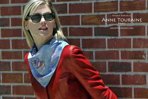 French silk scarves, twill silk, scarf PARIS NEW YORK by ANNE TOURAINE Paris™, blue tied as a fluffy neck scarf over a leather jacket