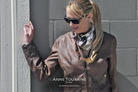 French silk scarves, twill silk, scarf Accessories by ANNE TOURAINE Paris™, brown tied as a neck scarf over a leather jacket