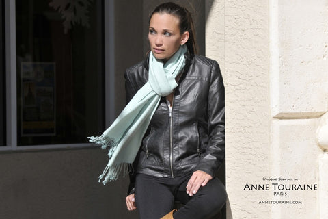 Cashmere silk pashmina scarf by ANNE TOURAINE Paris™, green color, styled with a leather jacket