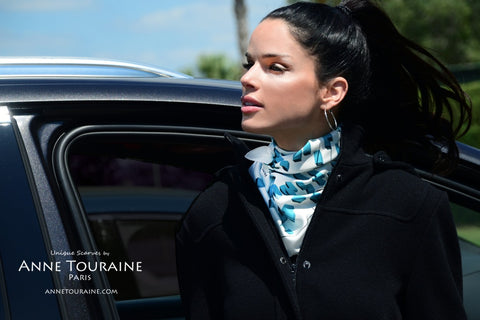 French silk scarves by ANNE TOURAINE Paris™: white and teal blue scarf tied around the neck