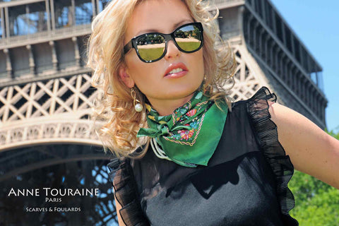 French silk scarves by ANNE TOURAINE Paris™: green floral scarf tied around the neck