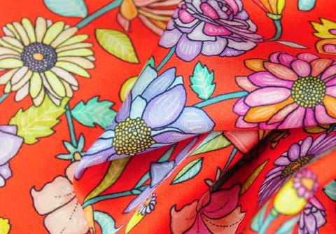 Floral silk scarves by ANNE TOURAINE Paris™: red