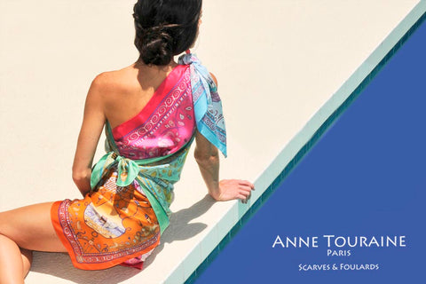 Drape yourself from tip to toe into luxury silk scarves with ANNE TOURAINE Paris™ unique creations