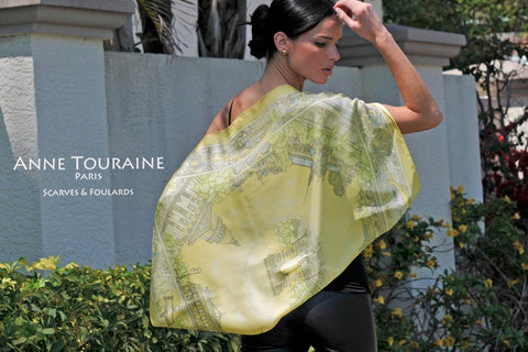 Luxury scarves: Paris yellow silk scarf, a creation of ANNE TOURAINE Paris™; Tied as large shawl