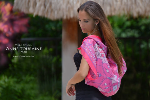 French silk scarves by ANNE TOURAINE Paris™: fuchsia pink scarf tied as a shoulder wrap