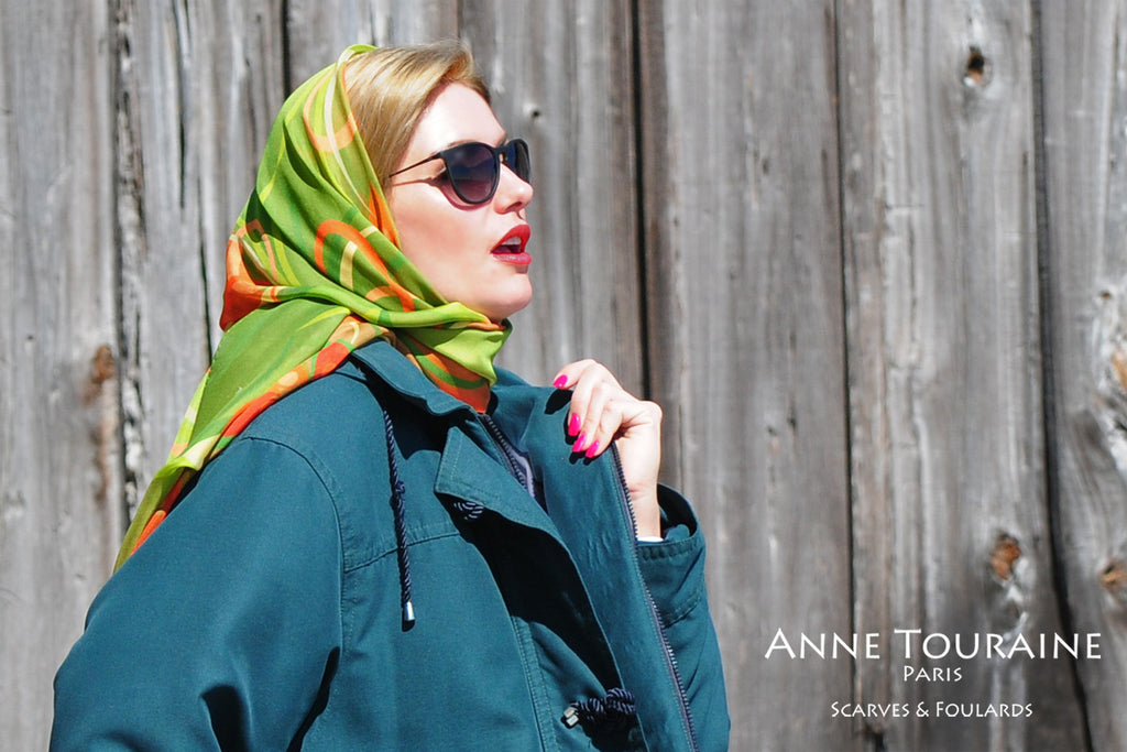 Extra large silk chiffon scarves: brown and olive scarf as a head scarf