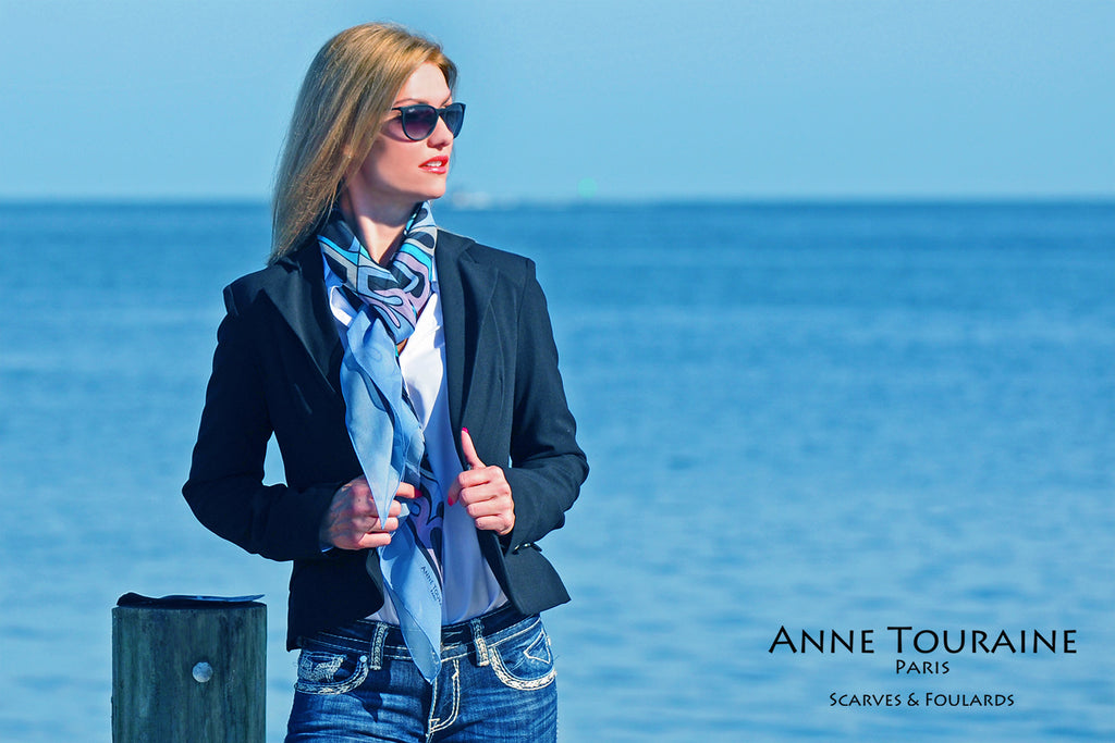 Extra large silk chiffon scarves by ANNE TOURAINE Paris™: blue scarf tied around the neck European loop way