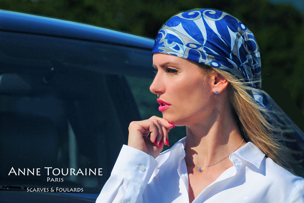 Extra large silk chiffon scarves: blue scarf as a pirate head scarf