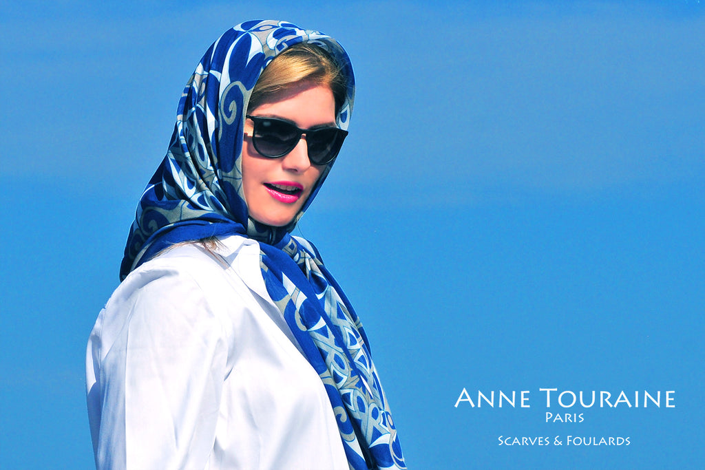 Extra large silk chiffon scarves: blue scarf ties as a classic head scarf