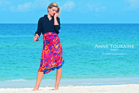 Extra large silk chiffon scarves by ANNE TOURAINE Paris™: multicolor scarf tied as a sarong
