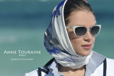 Paris New York scarf in white by ANNE TOURAINE Paris™ and sunglasses a la Grace Kelly