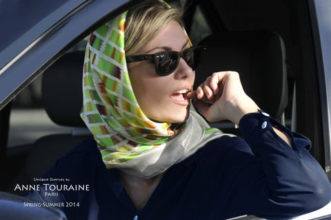 Extra large silk scarf by ANNE TOURAINE Paris™ tied a la Garce Kelly