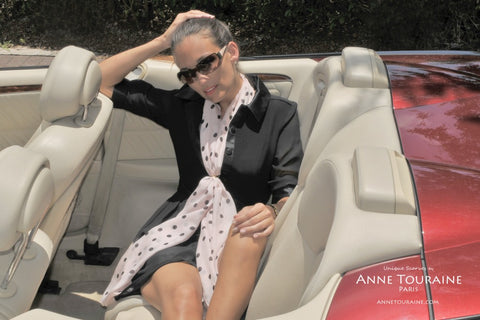 Pink polka dot scarf by ANNE TOURAINE Paris™ tied with a ring.