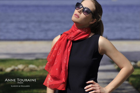 Red scarf with dog pattern, silk chiffon, oblong shape by ANNE TOURAINE Paris™: perfect for dog lovers!