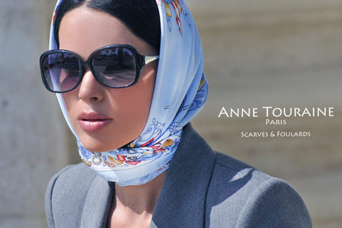 French silk scarf by ANNE TOURAINE Paris™, nautical theme, tied a la Jackie O