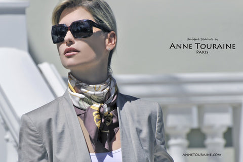 Twill silk scarf by ANNE TOURAINE Paris™ and sunglasses for a glamorous look