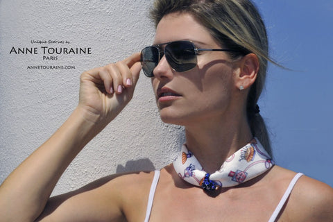 White and blue silk scarf by ANNE TOURAINE Paris™: an ultra feminine scarf