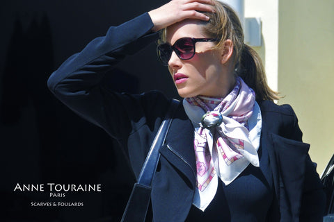 French silk scarf, pink and white by ANNE TOURAINE Paris™ and scarf ring