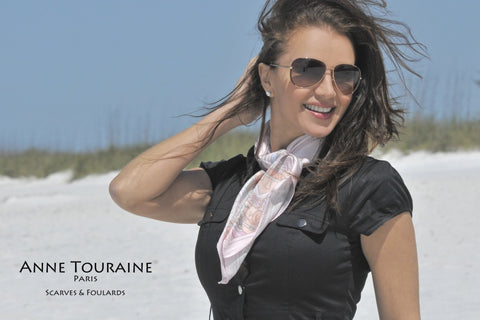 Pink Paris scarf, silk twill by ANNE TOURAINE Paris™. The perfect scarf for Paris lovers!