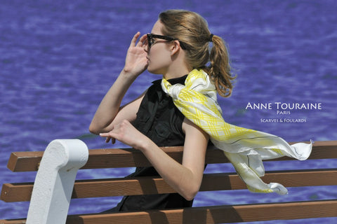 Extra large silk scarf, yellow and white by ANNE TOURAINE Paris™, romantic style